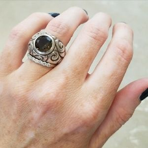 Princess Kylie Oxidized Sterling Silver Wrapped Anchor Rope Band Ring